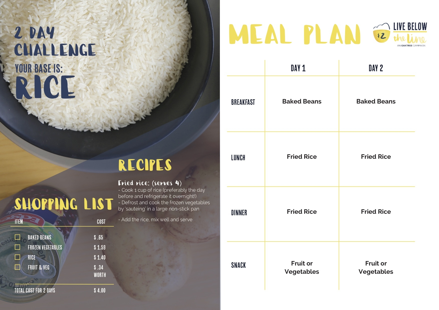 Downloadable 2 Day Challenge Meal Plan + Shopping List : Rice